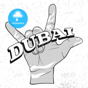Dubai Lettering on Rock Hand Devil Horn - Hebstreits