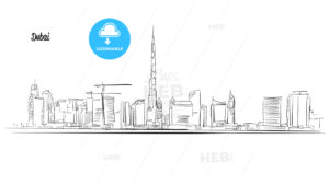Dubai, United Arab Emirates. Panorama Vector Outline Sketch - Hebstreits