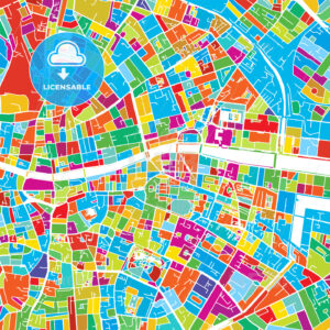 Dublin, Ireland, Colorful Vector Map - Hebstreits