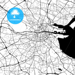 Dublin, Ireland, Monochrome Map Artprint Template