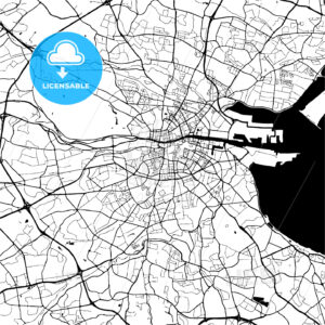 Dublin, Ireland, Monochrome Map Artprint - HEBSTREIT's Sketches