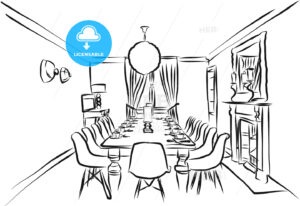 Eating Room Outline Backround Sketch - Hebstreits