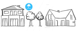 Family house and villa vector sketch - Hebstreits