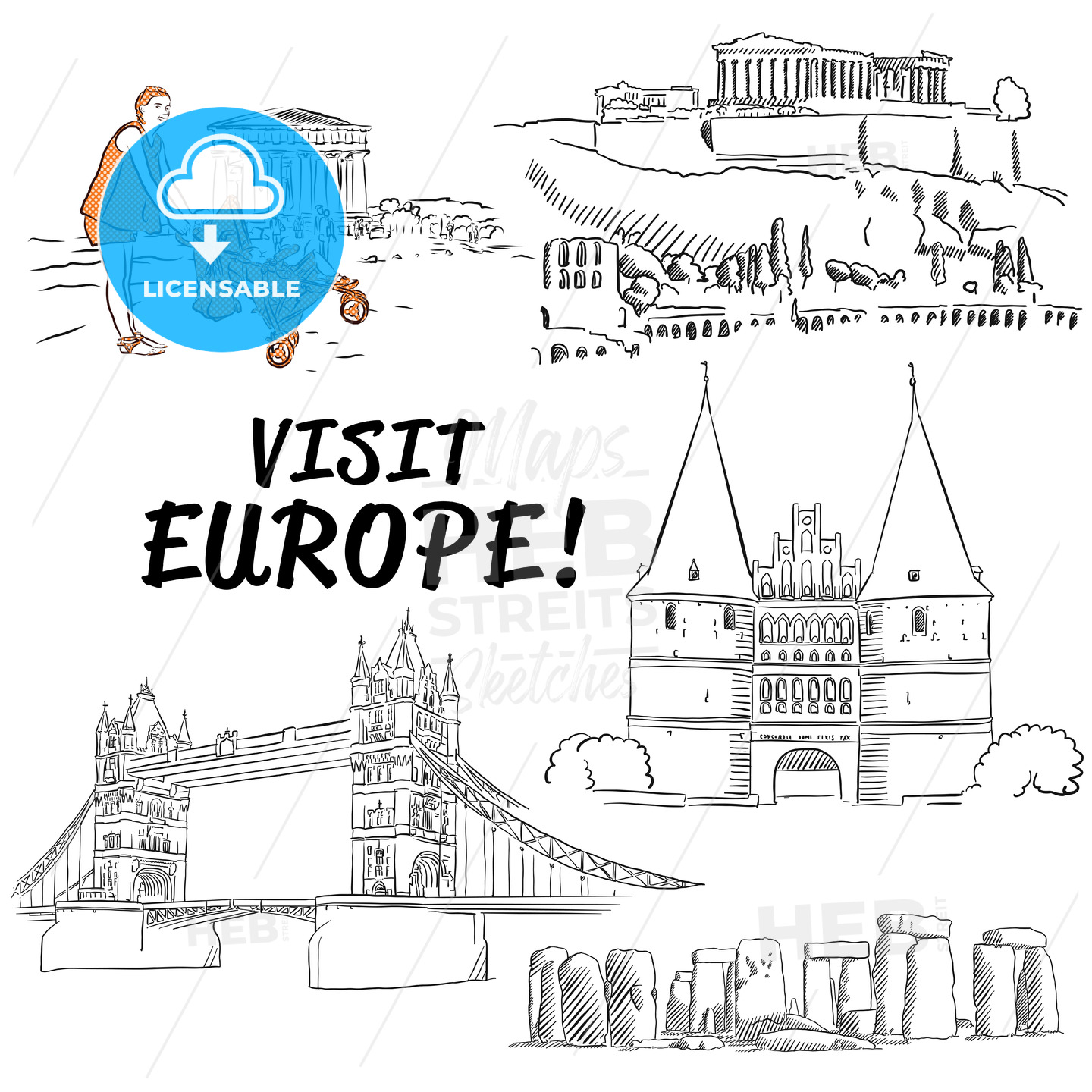 Famous European Vacation Buildings Sketches - Hebstreits