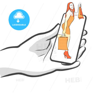 Female with Bags on Smartphone, Concept - Hebstreits