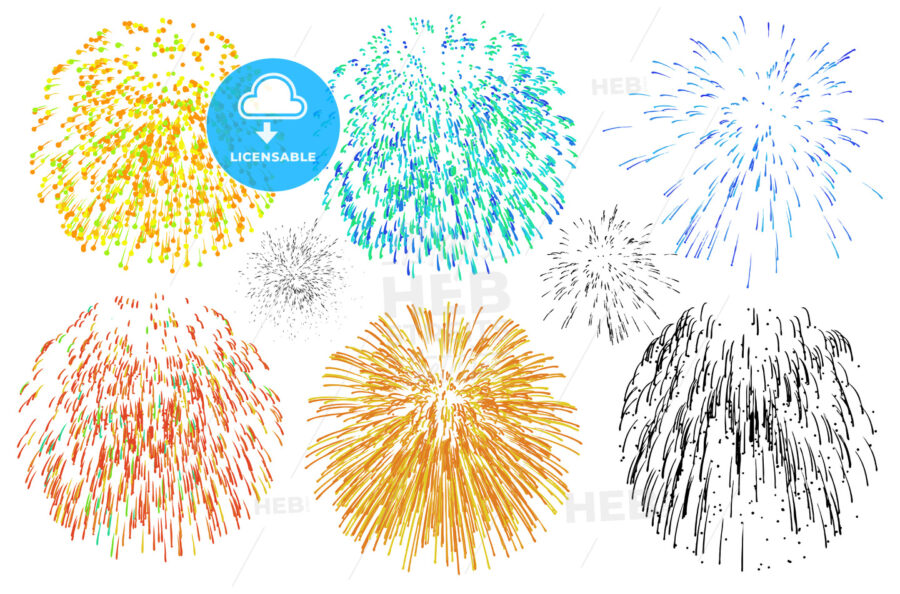 Fireworks various colors against white - HEBSTREIT's Sketches