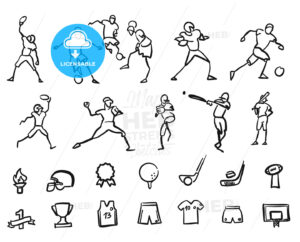Football, Soccer and Baseballplayer Sketched Motion Doodle Set - Hebstreits