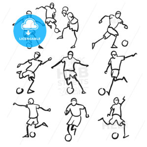 Football or Soccer Player Motion Sketch Studies - Hebstreits