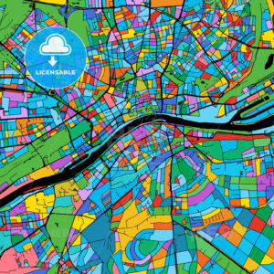 Frankfurt Colorful Vector Map on Black - Hebstreits