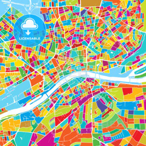 Frankfurt, Germany, Colorful Vector Map - Hebstreits