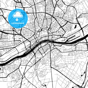Frankfurt, Germany, Monochrome Map Artprint - HEBSTREIT's Sketches