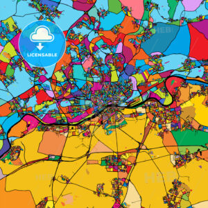 Frankfurt am Main Area Colorful Vector Map on Black - Hebstreits
