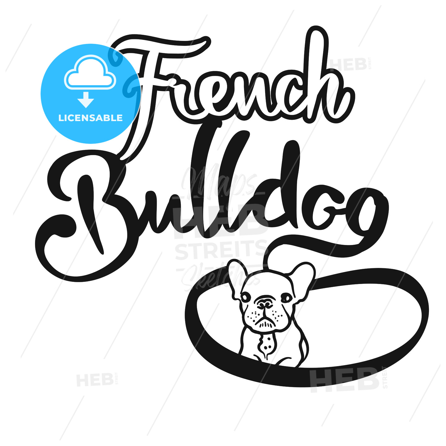 French Bulldog Hand drawn Lettering Logo - Hebstreits