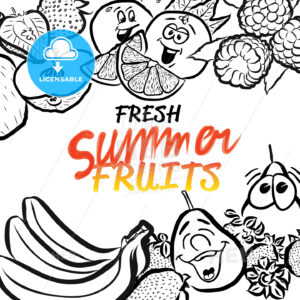 Fresh Summer Fruits Sketch Composition Design - Hebstreits