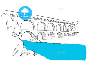 Gard Du Pont Languedoc, Nimes France, Sketch - Hebstreits