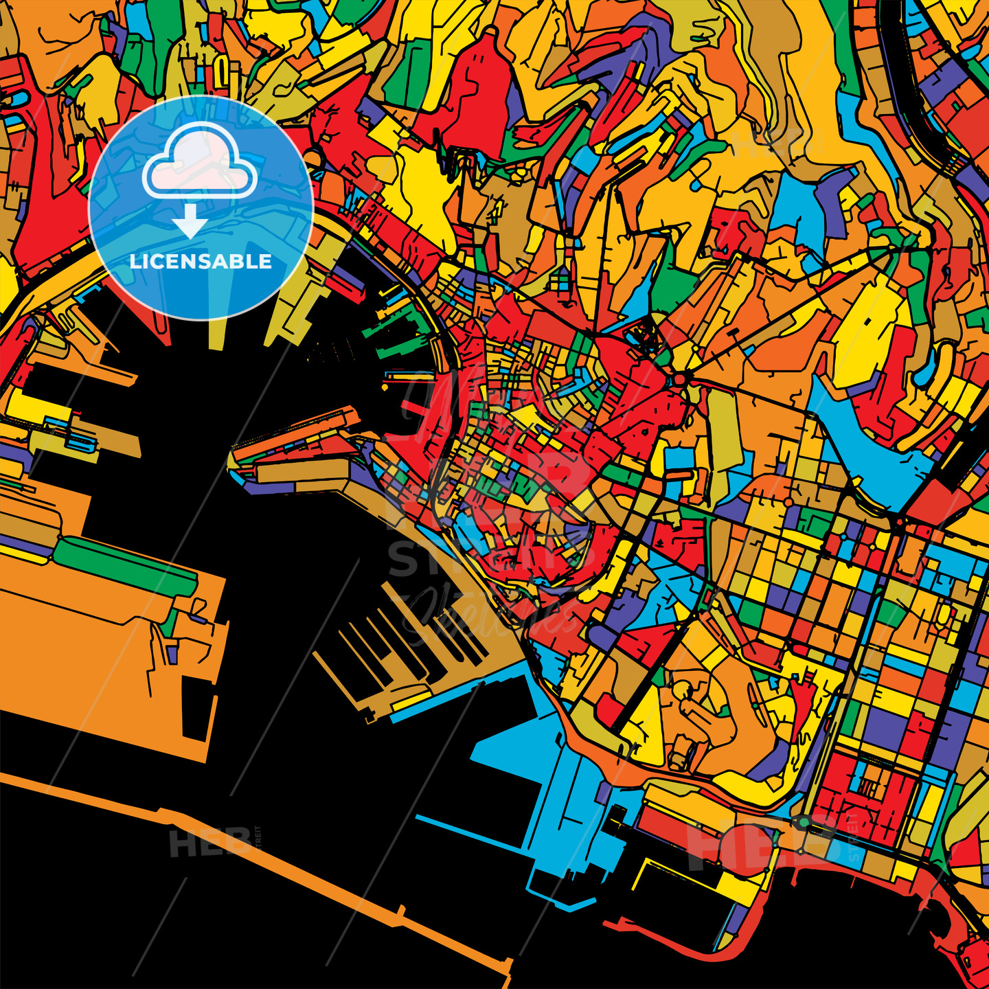 Genoa Colorful Vector Map on Black - HEBSTREIT's Sketches
