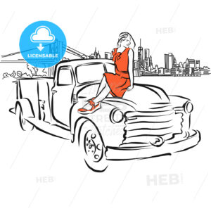 Girl on Car in Front of New York City Panorama - Hebstreits