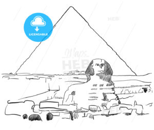 Giza Sphinx with Pyramids sketched - Hebstreits