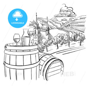 Glas of Wine on Barrel in Front of german Vineyard Landscape - HEBSTREITS