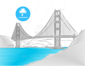 Golden Gate Bridge, San Francisco, Colored Sketch - Hebstreits
