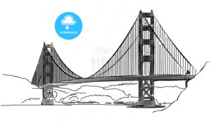 Golden Gate Bridge, San Francisco, Outline Sketch - Hebstreits