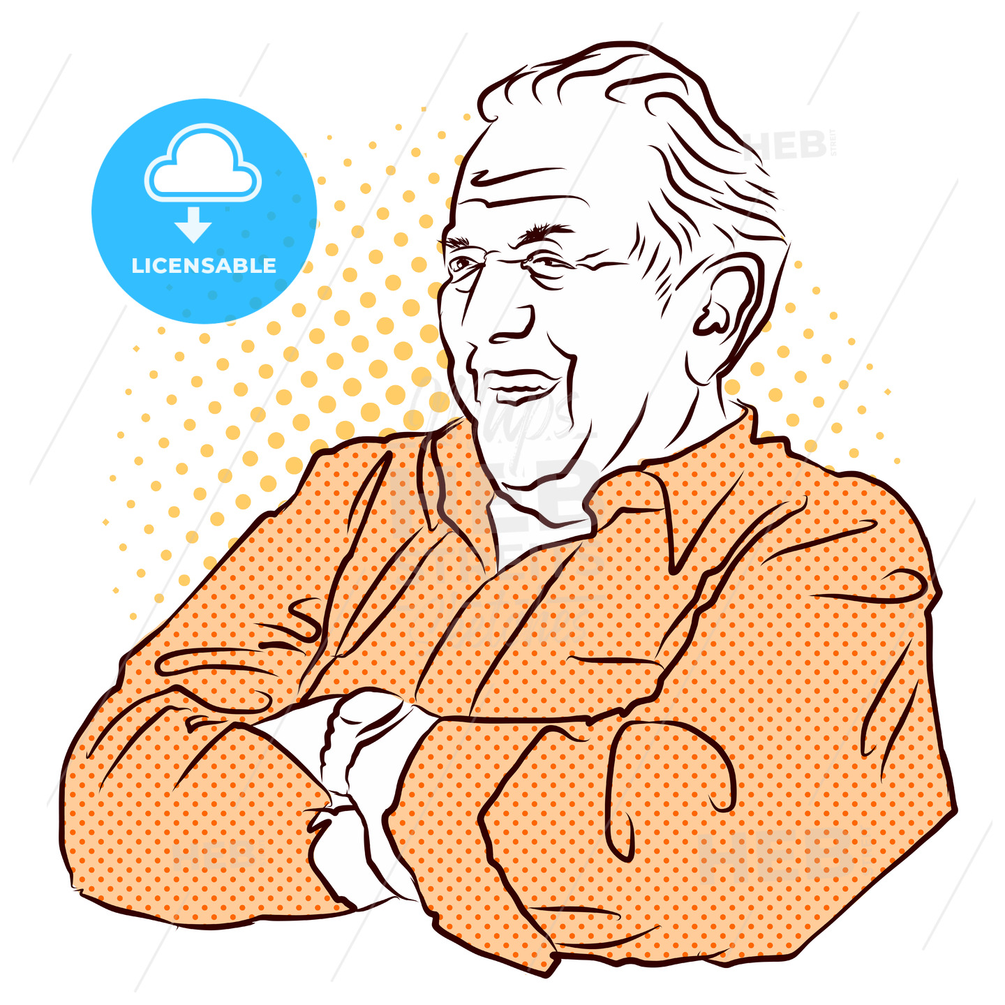 Grandpa crossed arms. Vector Hand Drawn Sketch. - Hebstreits