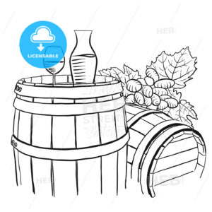 Grapes, Carafe and Glass of Vine on Wooden Barrel - Hebstreits