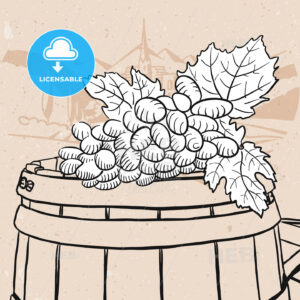 Grapes on sketched wooden barrel with wine - Hebstreits