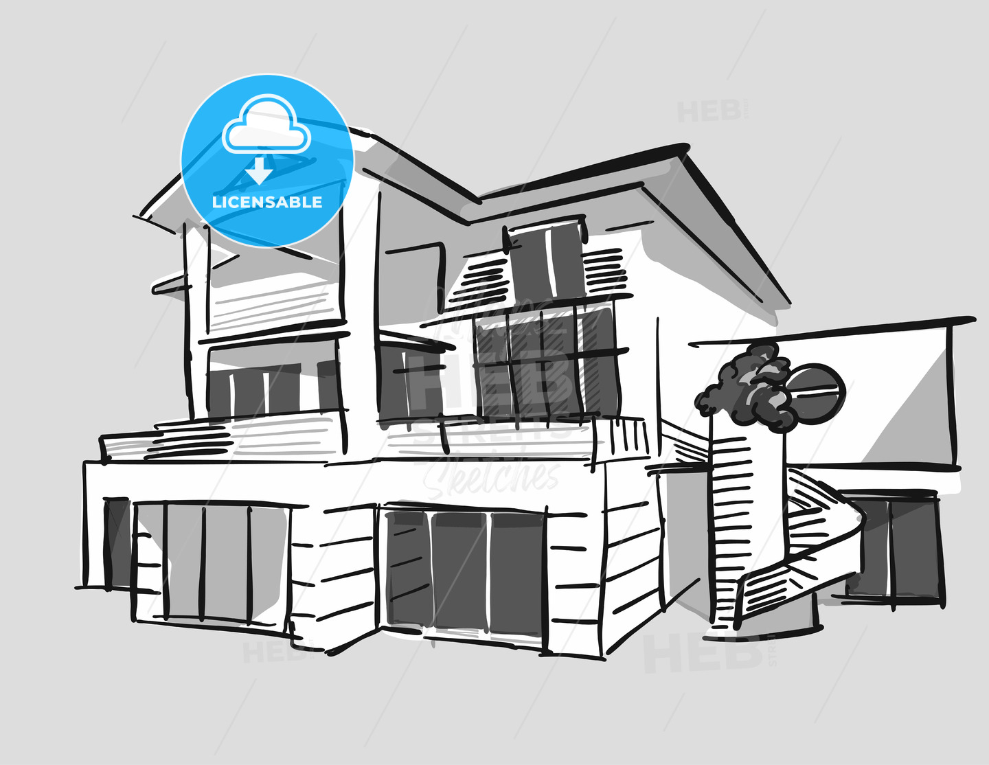Grayscale drawing dream house - Hebstreits