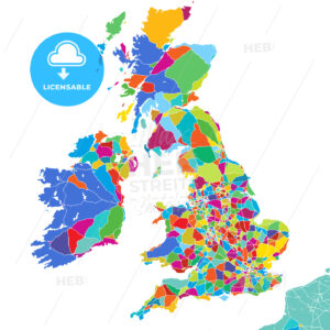Great Britain Colorful Vector Map - Hebstreits