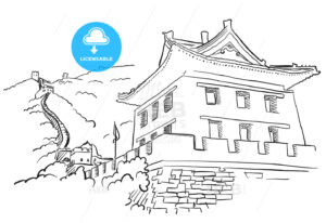 Great Wall with Tower Sketch - Hebstreits