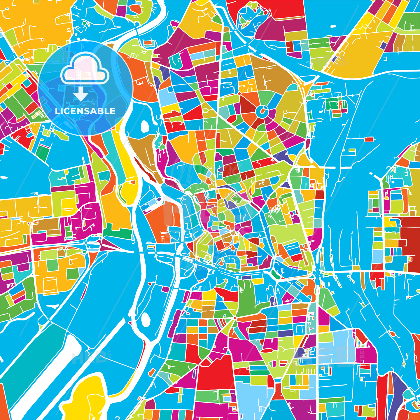 Halle Saale, Germany, Colorful Vector Map - HEBSTREIT's Sketches