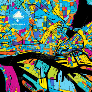 Hamburg Colorful Vector Map on Black - HEBSTREIT's Sketches