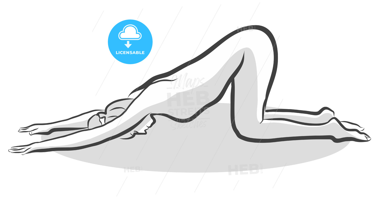 Hand Drawn Extended Puppy Pose Uttana Shishosana Pose, Yoga Woman - Hebstreits