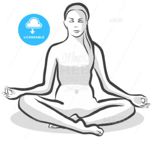 Hand Drawn Siddhasana Perfect Pose, Yoga Woman - Hebstreits