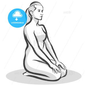 Hand Drawn Thunderbolt Vajrasana Pose, Yoga Woman - Hebstreits