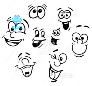 Hand drawn Emotional happy Cartoon Faces - Hebstreits