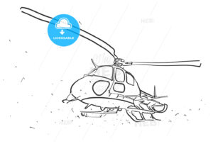 Helicopter in wide angle Perspective Sketch - Hebstreits