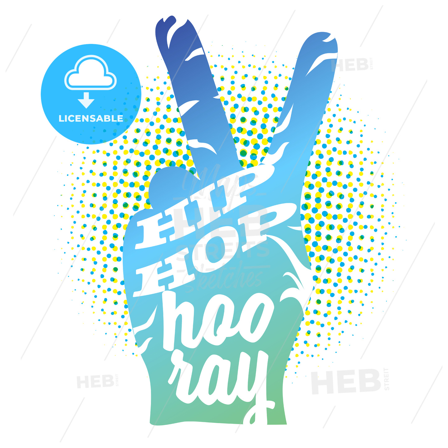 Hip Hop Hooray on Peace Hand Sign - Hebstreits