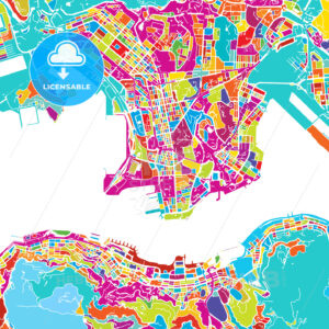 Hong Kong Colorful Map - HEBSTREIT's Sketches
