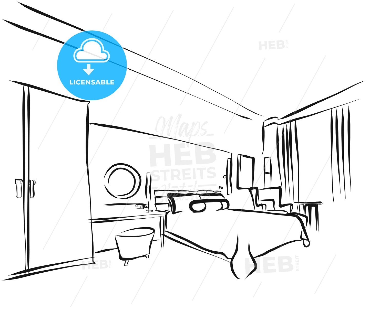 Hotel Room Interieur Coloring Page - Hebstreits