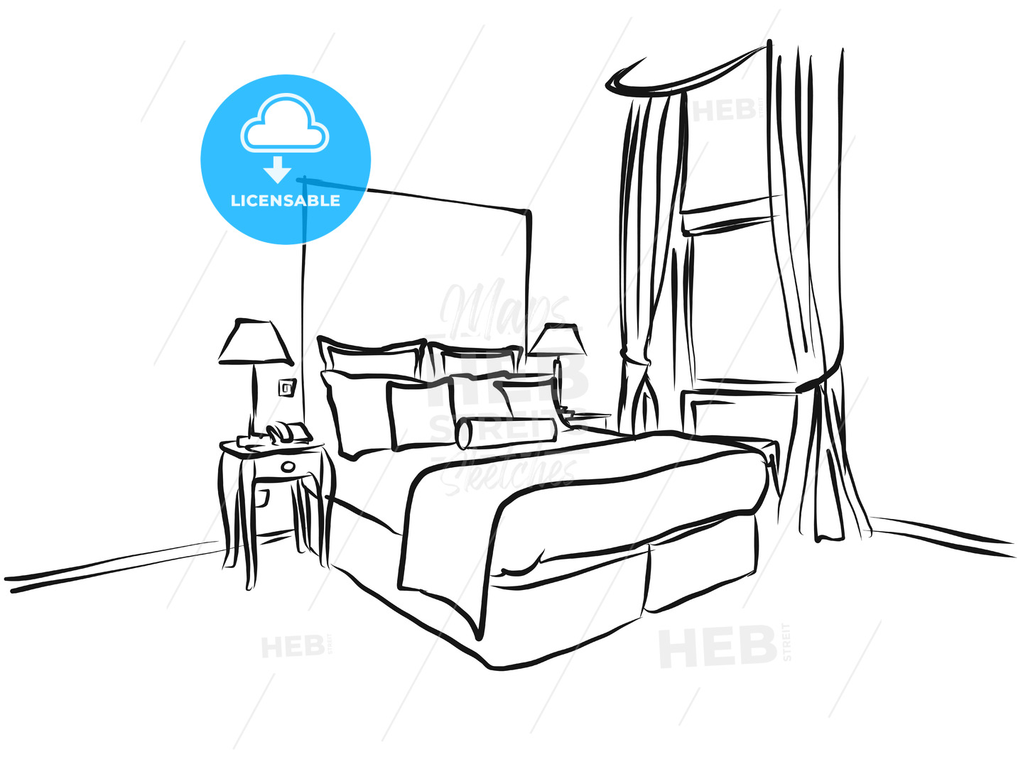 Hotel Room King Size Bed, Interieur Coloring Page - Hebstreits