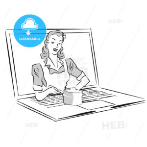 Housewife serve cooking pot on laptop Screen - Hebstreits