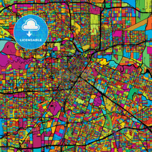 Houston Colorful Vector Map on Black - HEBSTREIT's Sketches