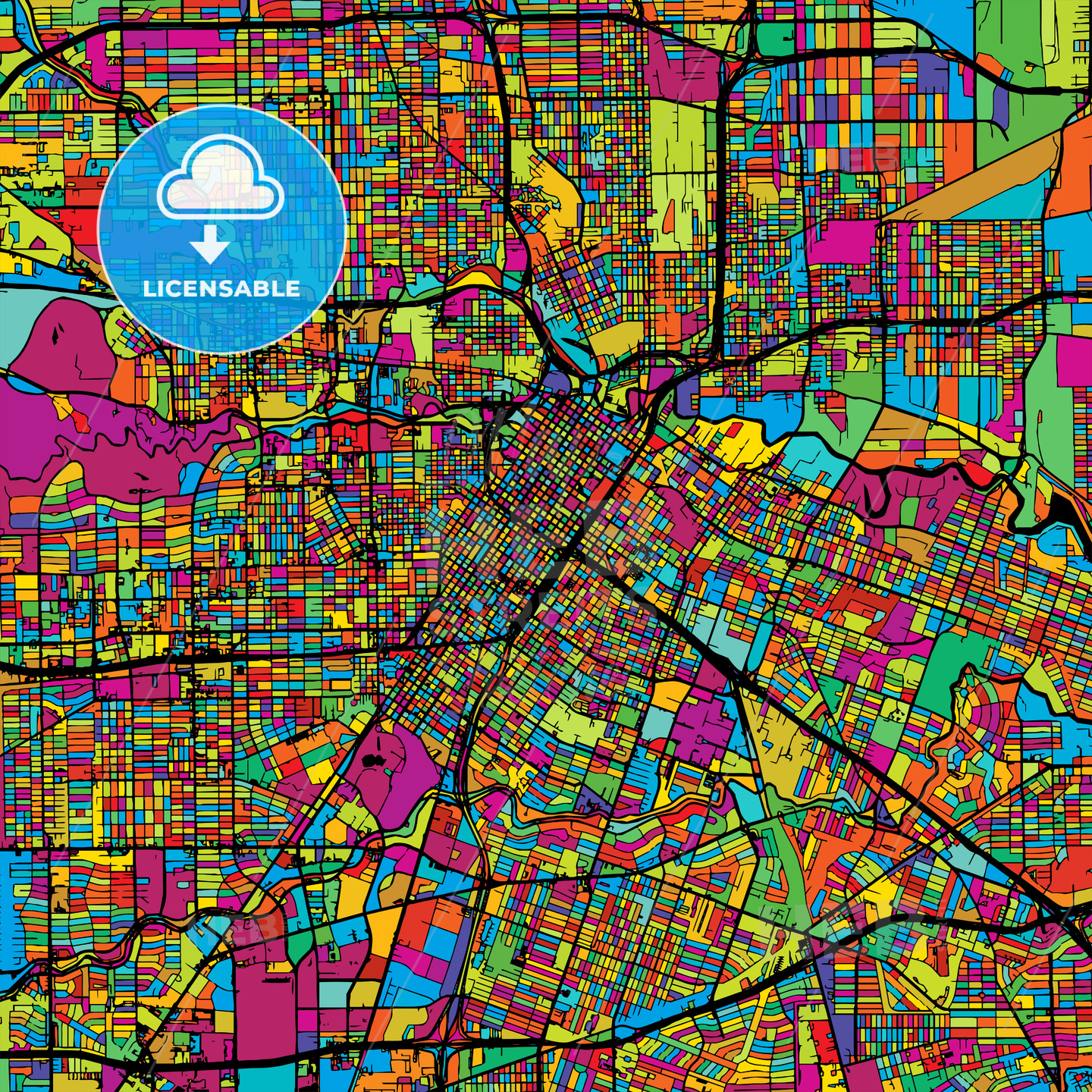 Houston Colorful Vector Map on Black - Hebstreits