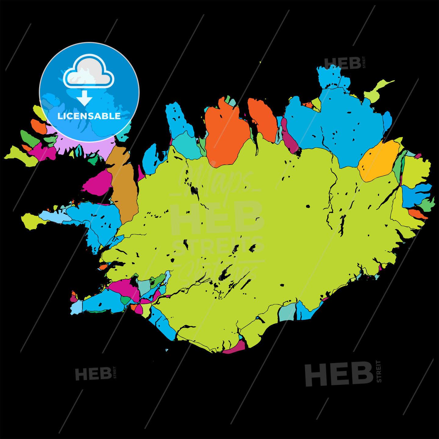 Iceland Island Colorful Vector Map on Black - Hebstreits