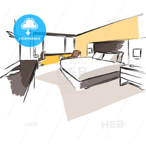 Interior Hotel Room Concept Sketch Layout - Hebstreits