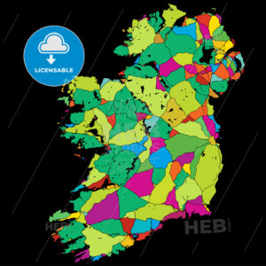 Ireland Colorful Vector Map on Black - Hebstreits