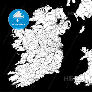Ireland Monochrome Map Artprint - HEBSTREIT's Sketches