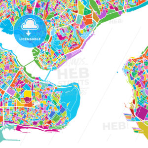 Istanbul Colorful Vector Map - Hebstreits